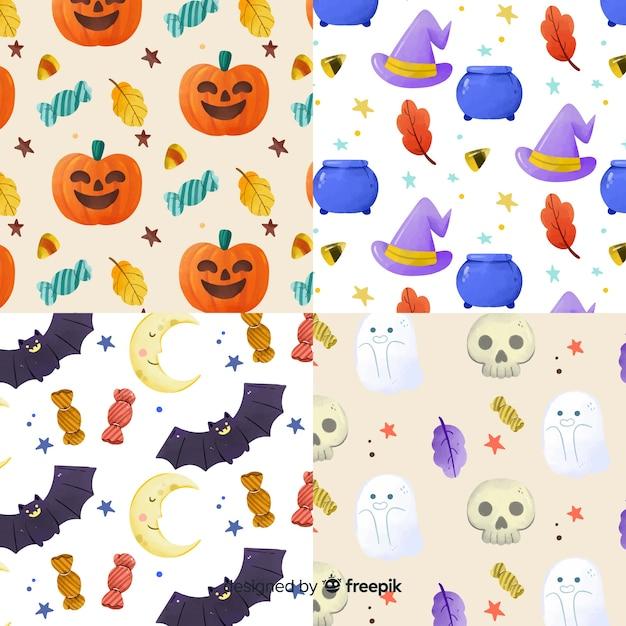 Raccolta del modello di halloween dell'acquerello Vettore gratuito