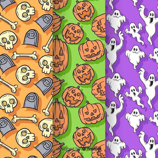 Raccolta del modello di halloween disegnato a mano Vettore gratuito
