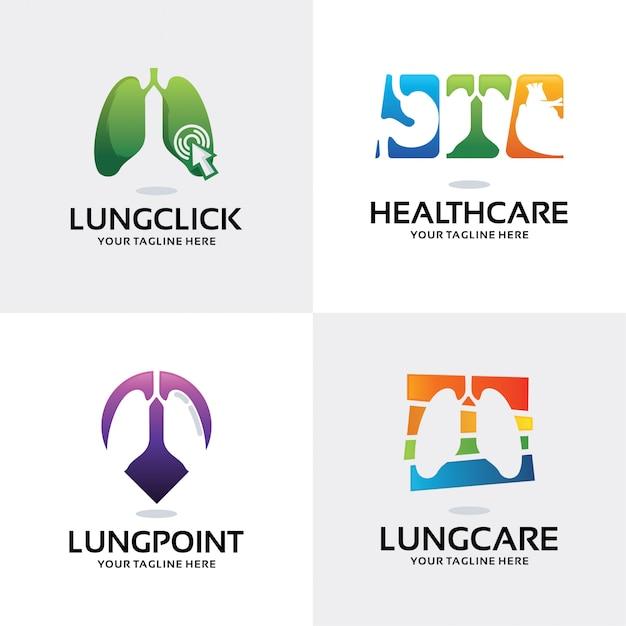 Raccolta del modello di progettazione stabilita di logo di sanità del polmone Vettore Premium