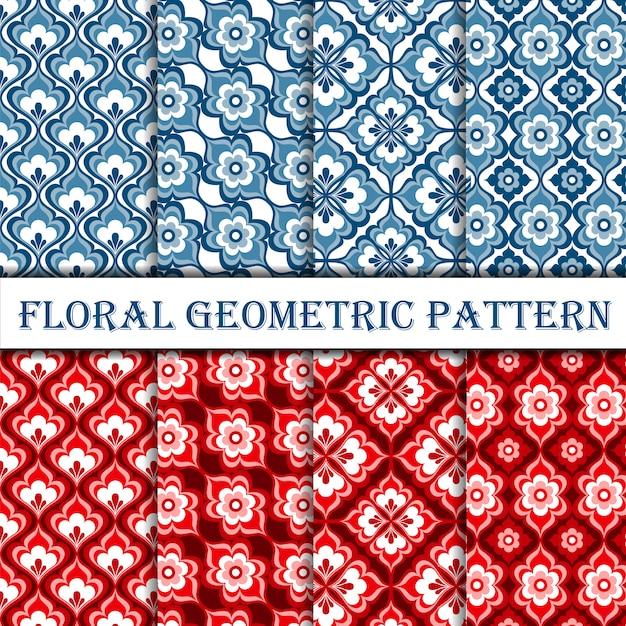 Raccolta del modello senza cuciture geometrico floreale deco Vettore Premium