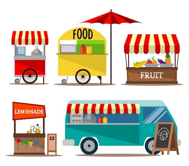 Raccolta del venditore di cibo street food Vettore Premium