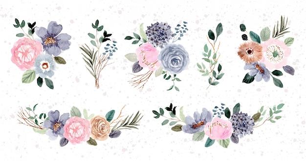 Raccolta dell'acquerello di composizione floreale rosa blu Vettore Premium