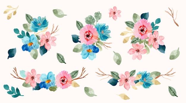 Raccolta dell'acquerello di disposizione floreale blu rosa Vettore Premium