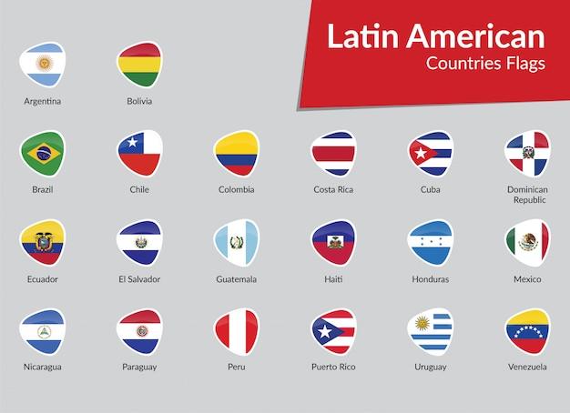 Raccolta dell'icona delle bandiere dell'america latina Vettore Premium