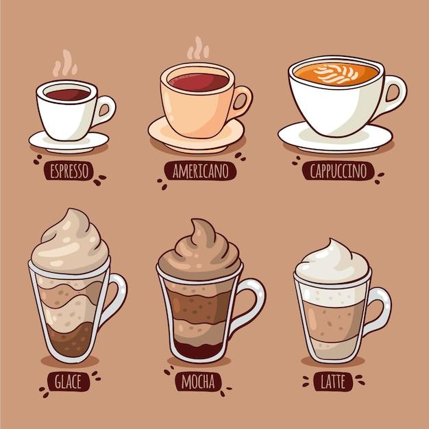 Raccolta dell'illustrazione dei tipi di caffè Vettore gratuito