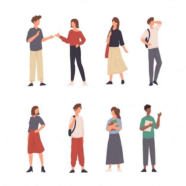 Raccolta dell'illustrazione del carattere della gente che fa varia attività nella progettazione piana Vettore Premium
