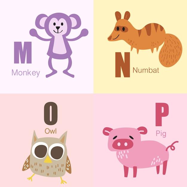 Raccolta dell'illustrazione di alfabeto degli animali di m alla p. Vettore Premium