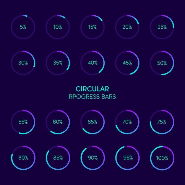 Raccolta della barra di caricamento e del buffering futuristici moderni di progresso circolare Vettore Premium