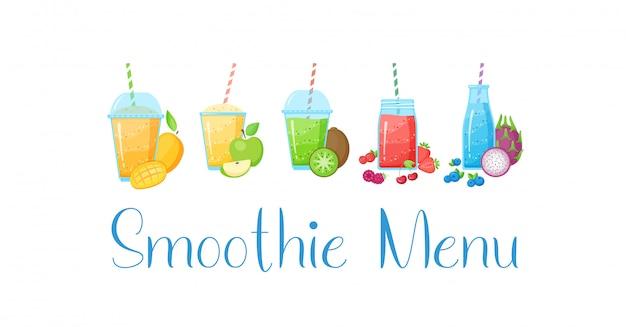 Raccolta della bevanda del frullato della frutta cruda di dieta sana Vettore Premium