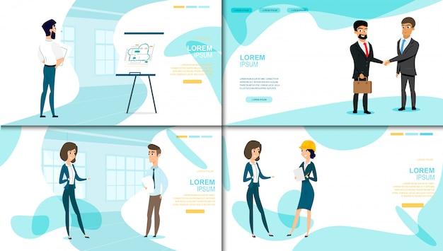 Raccolta della pagina di atterraggio di vettore della società di affari Vettore Premium