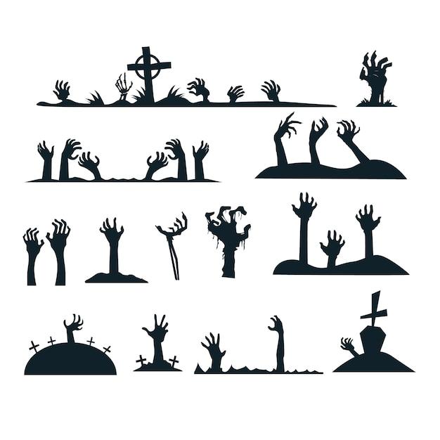 Raccolta della siluetta delle mani delle zombie di halloween Vettore gratuito