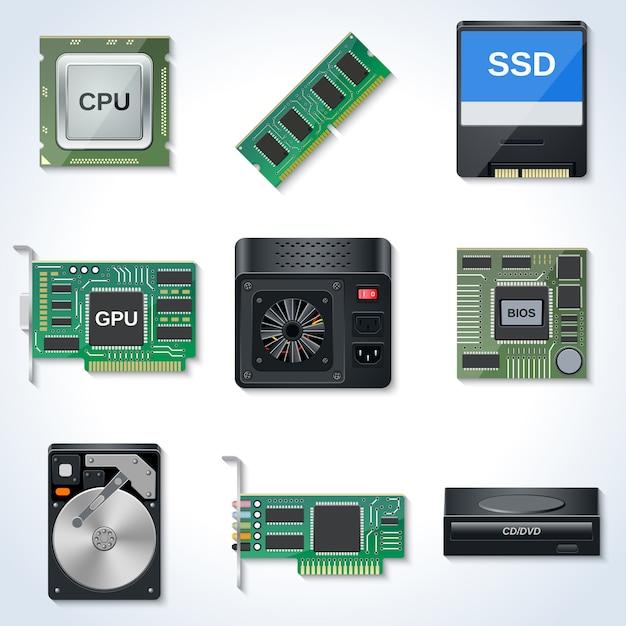 Raccolta delle icone di vettore dell'hardware di computer Vettore Premium