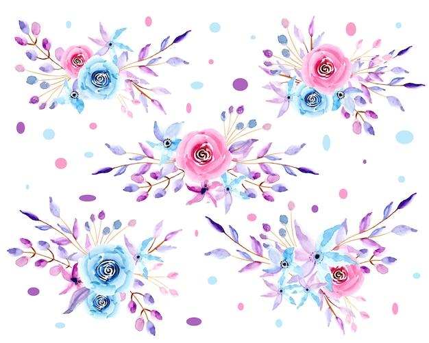 Raccolta di acquerello floreale pastello Vettore Premium