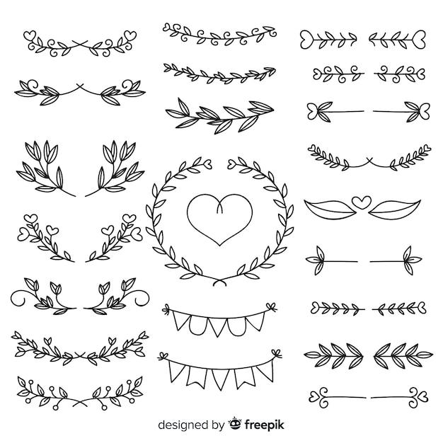 Raccolta di adorabili ornamenti di nozze disegnati a mano Vettore gratuito