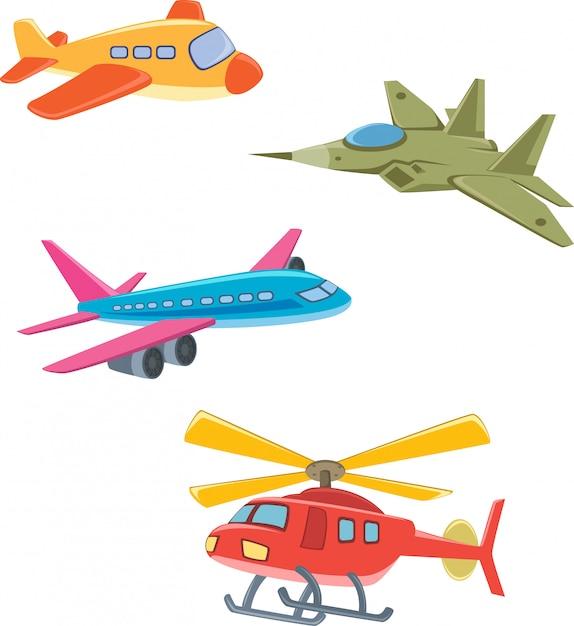Raccolta di aeroplani Vettore Premium