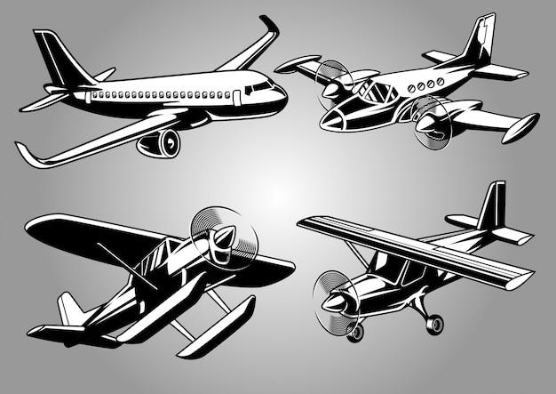 Raccolta di aeroplano moderno Vettore Premium