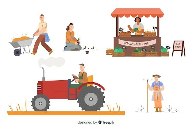Raccolta di agricoltori che lavorano Vettore gratuito