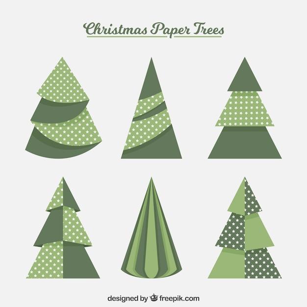 Alberi Di Natale Di Carta.Raccolta Di Alberi Di Natale Verdi In Stile Di Carta