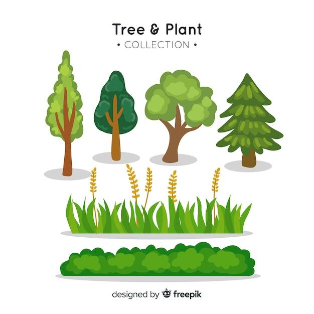 Raccolta di alberi e piante Vettore gratuito