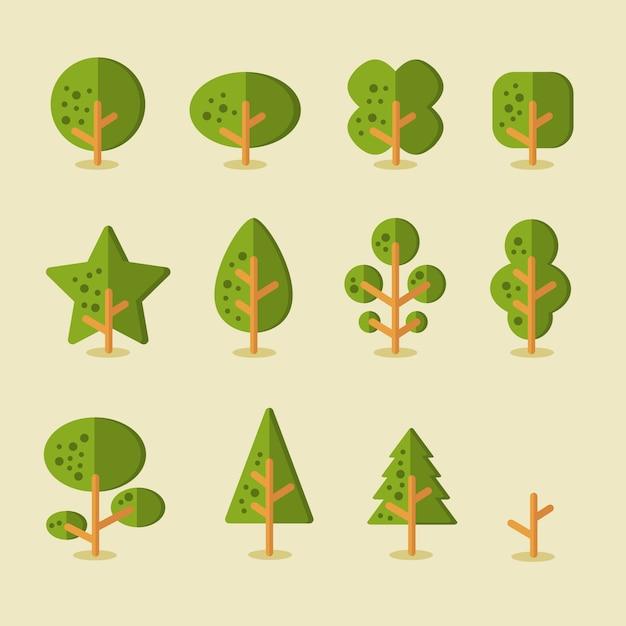 Raccolta di alberi per sfondi di gioco in stile piatto Vettore Premium