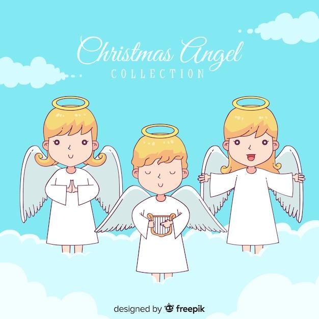Raccolta di angeli di natale Vettore gratuito