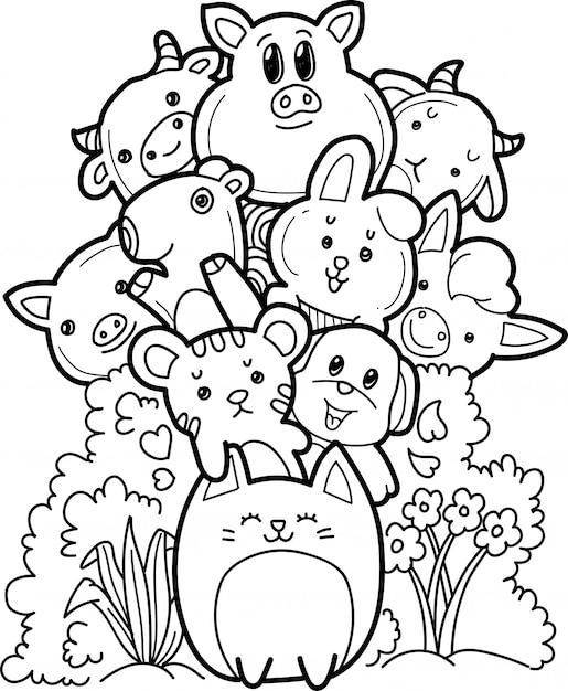 Raccolta di animali da fattoria in stile doodle Vettore Premium