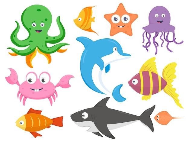 Raccolta di animali marini fumetto illustrazione vettoriale Vettore Premium