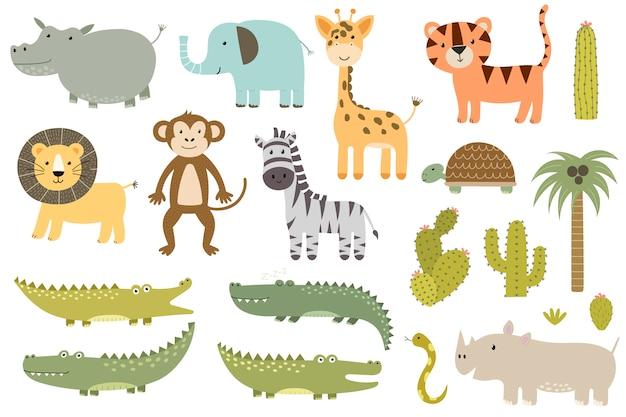 Raccolta di animali safari isolato carino. giraffa, leone, ippopotamo, coccodrillo e altri. Vettore Premium
