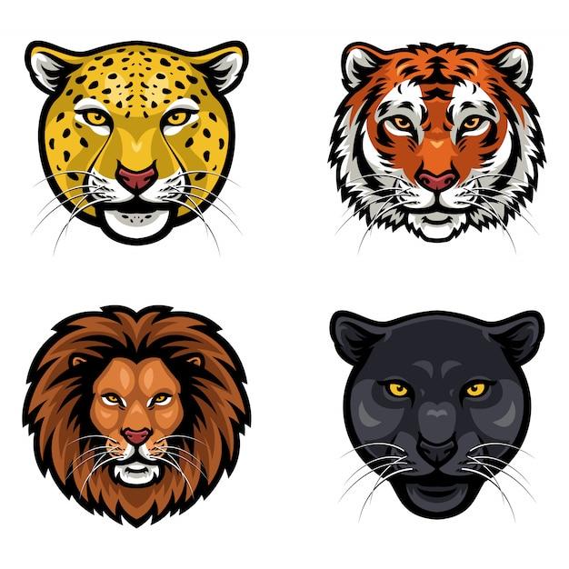 Raccolta di animali selvatici viso vettoriale Vettore Premium