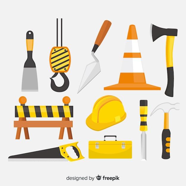 Raccolta di attrezzature da costruzione piatte Vettore gratuito