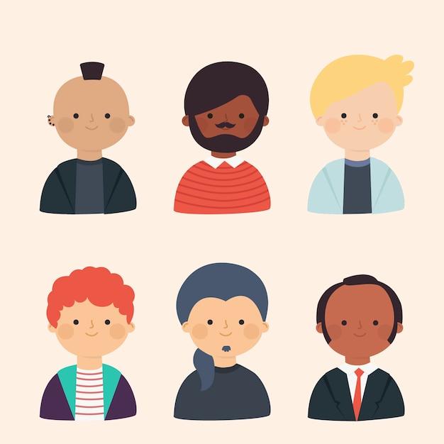 Raccolta di avatar di persone diverse Vettore gratuito