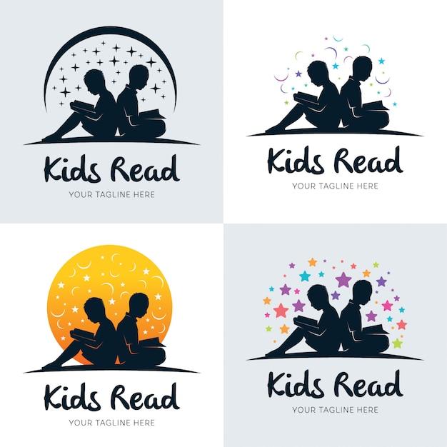 Raccolta di bambini che leggono il modello di disegni di logo Vettore Premium
