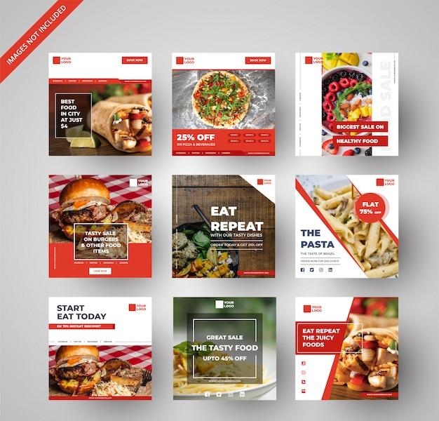 Raccolta di banner cibo e ristorante per il marketing digitale Vettore Premium
