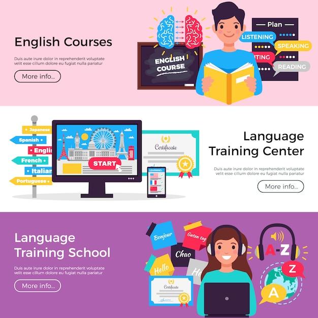 Raccolta di banner di corsi di lingua online Vettore gratuito