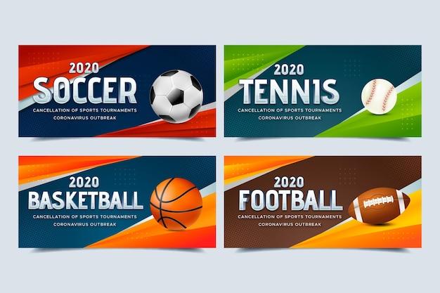 Raccolta di banner di eventi sportivi cancellati Vettore gratuito