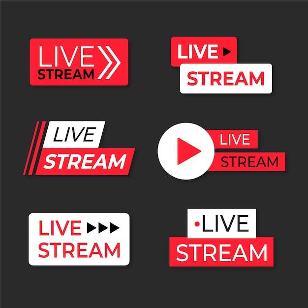 Raccolta di banner di notizie di streaming live Vettore gratuito