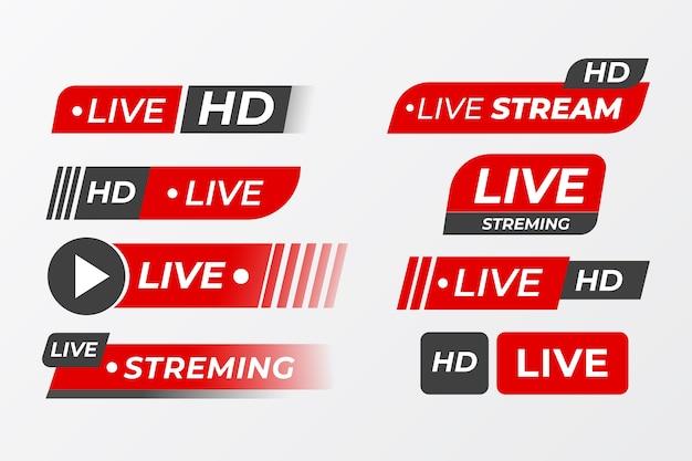 Raccolta di banner di notizie in streaming live Vettore gratuito