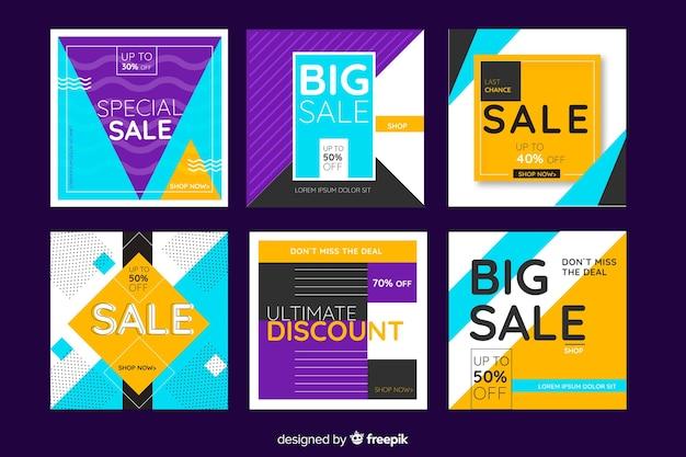 Raccolta di banner di promozione di vendita per i social media Vettore gratuito