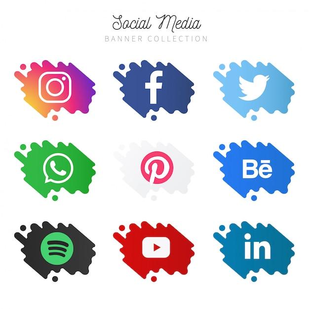 Raccolta di banner di social media Vettore gratuito