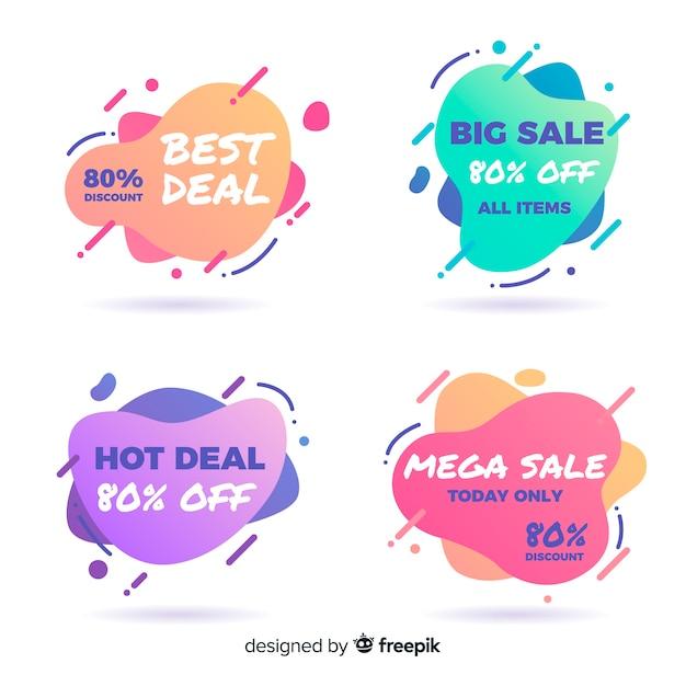 Raccolta di banner di vendita astratta per i social media Vettore gratuito