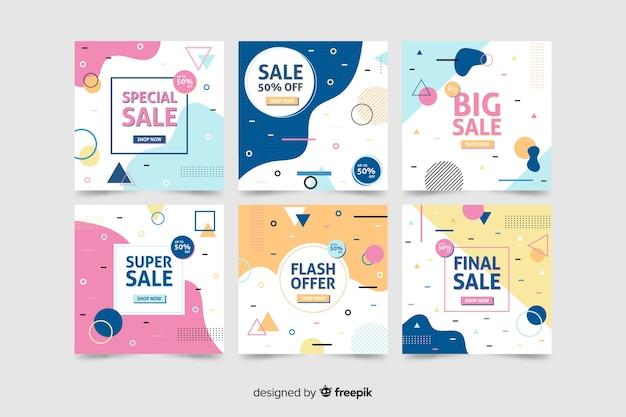 Raccolta di banner di vendita moderna per i social media Vettore gratuito