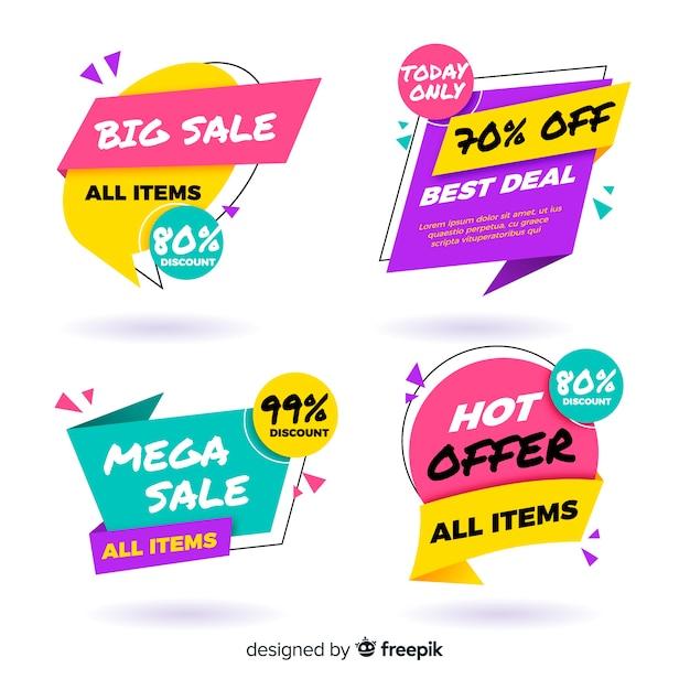 Raccolta di banner di vendita origami colorati Vettore gratuito