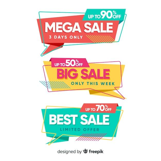 Raccolta di banner di vendita origami Vettore gratuito