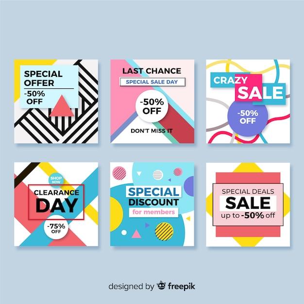 Raccolta di banner di vendita per social media Vettore gratuito