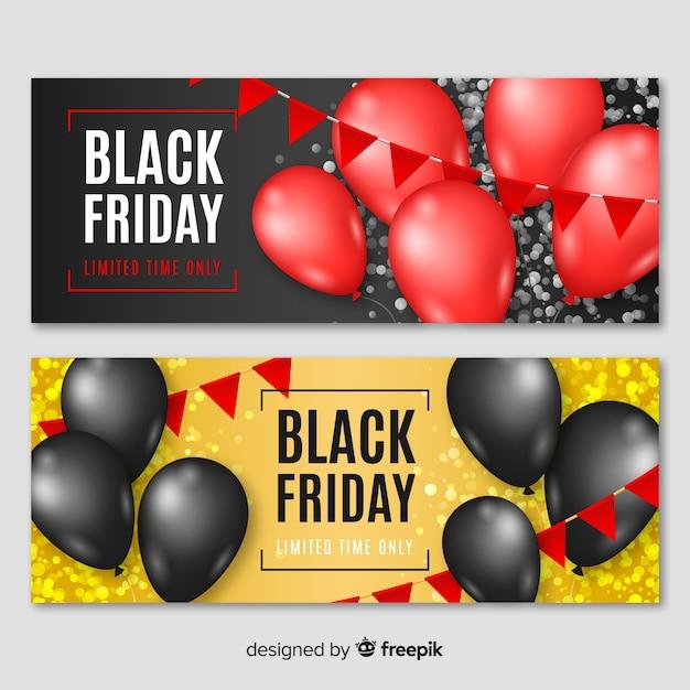 Raccolta di banner di vendita venerdì con palloncini Vettore gratuito