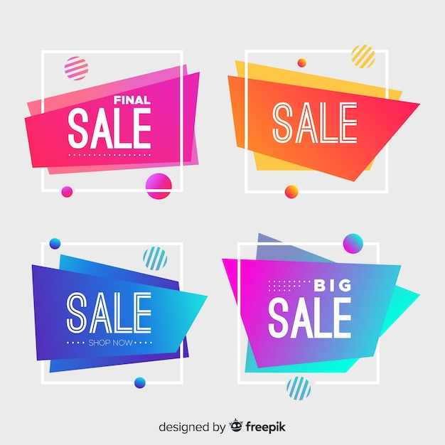 Raccolta di banner di vendita Vettore gratuito