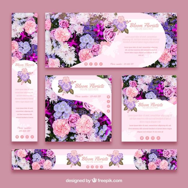 Raccolta di banner floreali Vettore gratuito