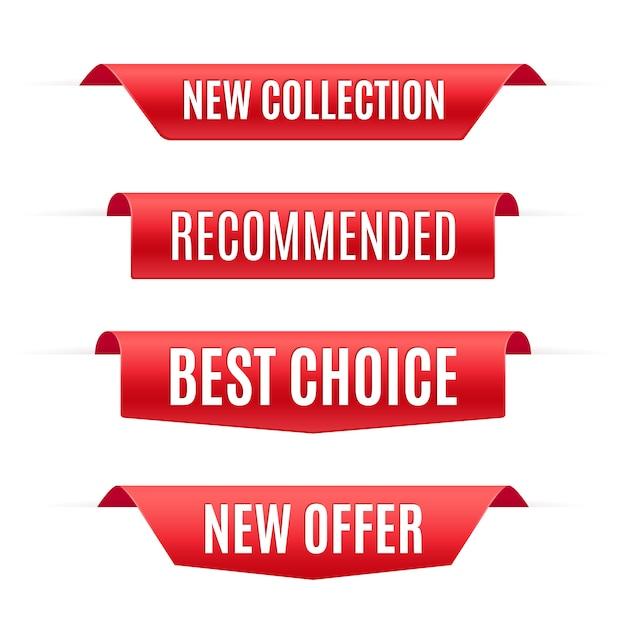 Raccolta di banner promozionali rossi Vettore Premium