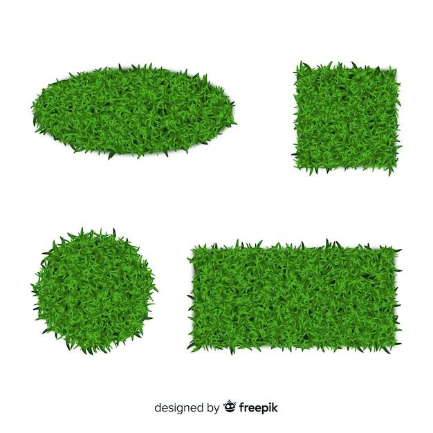 Raccolta di banner realistico di erba verde Vettore gratuito
