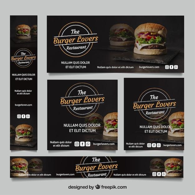Raccolta di banner ristorante burger con foto Vettore gratuito